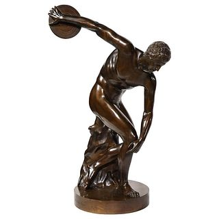 The Discobolus of Myron, Exceptional Italian Bronze Sculpture of Discus Thrower 1970