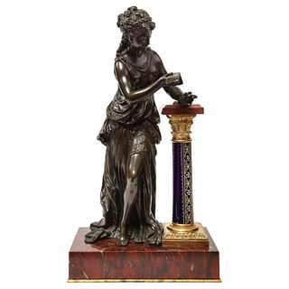 Mathurin Moreau, Exquisite French Bronze, Rouge Marble, and Sevres Style Porcelain Sculpture