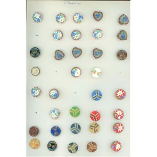 Three Whole Cards Of Assorted Modern Glass Buttons