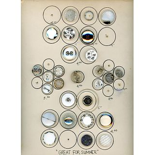 3 Cards Of Assorted Modern 1940'S Glass Buttons