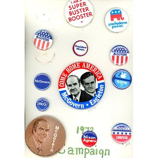 3 Cards Of Pin Back Buttons Of Various Presidents