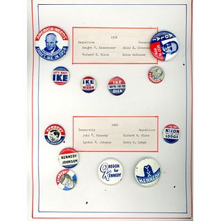 2 Cards Of Pin Back Buttons Of Various Presidents
