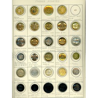 3 Cards Of Assorted European Uniform Buttons