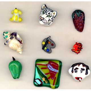 Small Card Of Artist Lampwork Buttons