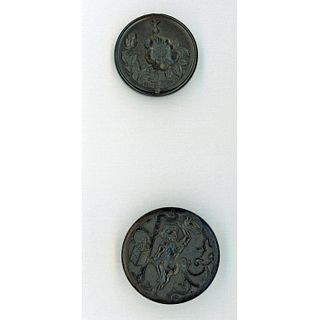 2 Division One Black Dyed Molded Horn Pictorial Button