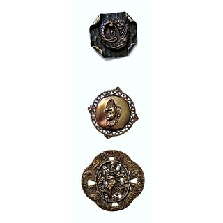 A Small Card Of Brass Picture Buttons Incl. Children