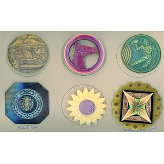 A Small Card Of Assorted Celluloid Buttons