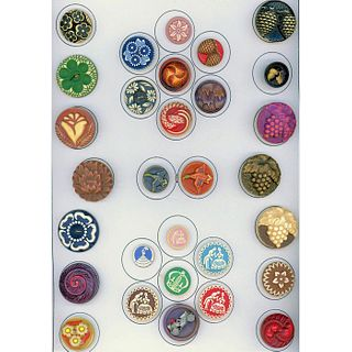 A Full Card Of Assorted Buffed Cellulloid Buttons