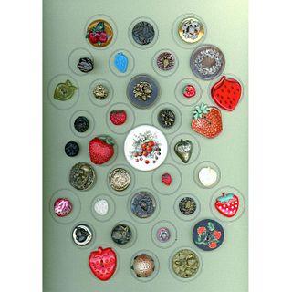 A Card Of Div 1 & 3 Asst'D Material Strawberry Buttons