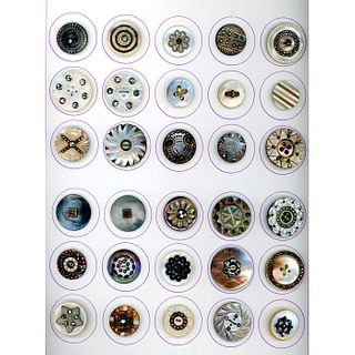 1 Card Of Assorted Pearl Buttons With Metal Ome