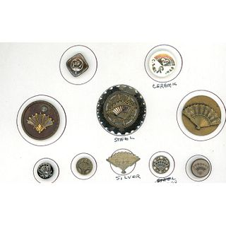 A Small Card Of Assorted Material Pictorial Fan Buttons