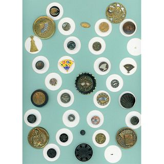 A Full Card Of Assorted Material Pictorial Fan Buttons