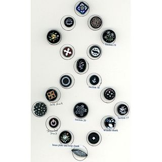 A Card Of Division 1 Black Glass Buttons