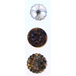 A Small Card Of Division 1 Lacy Glass Buttons