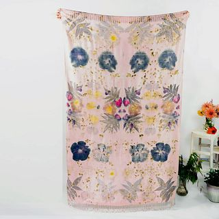 Large tapestry, throw, wrap, shawl: Dusty rose, blue, yellow, floral