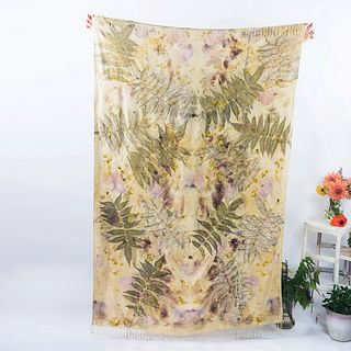 Large tapestry, throw, wrap, shawl: Yellow, green, leaves, floral