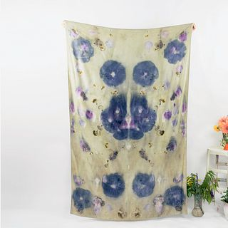 Large eco-printed throw, sarong, shawl: Sage green, purple hibiscus