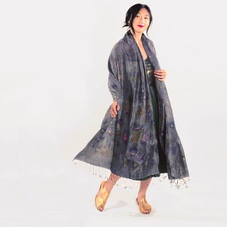 Large silk shawl cape with tassels: Indigo, purple, green