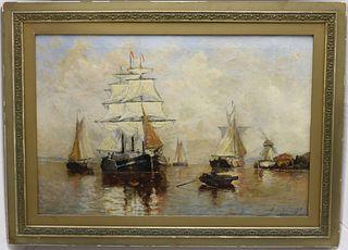 PAUL JEAN CLAYS (1819-1900, BELGIUM) OIL ON