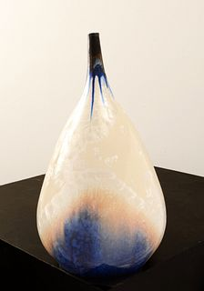 LINDSEY EPSTEIN, Crystalline Teardrop Vase in Black to White