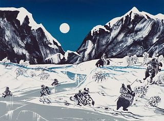 Earl Biss Moonlight on the Crazy Woman Mountains, 1981