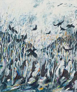 Earl Biss Sixteen Crows in Grey, 1982