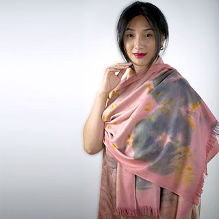 Eri silk shawl eco-printed with real flowers: Pink madder root, hibiscus