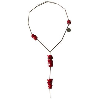 Betty Cooke Chinese Coral Sterling Silver American Modernist Necklace