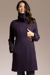 Cowl Neck Coat in Eggplant Virgin Merino, size 6