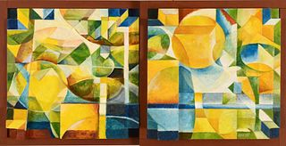 MARK WHOLEY, Composition in Blues, Greens and Yellows