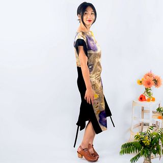 Long silk tunic dress: Hibiscus, gold, yellow
