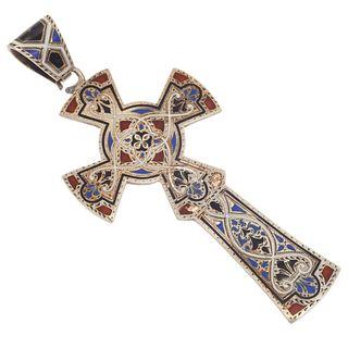 Victorian Enamel, Sterling Silver Cross Pendant