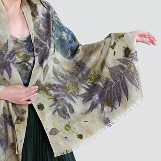Organic raw silk shawl eco-printed with real flowers: Hibiscus, gray, moss