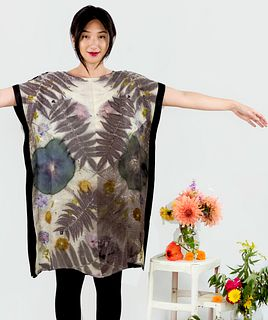 Hand dyed silk sheath dress: hibiscus, sumac, cosmos, black and white