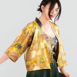 Cropped silk kimono jacket in gold: Lavender, yellow, bronze