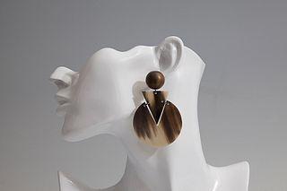 Large Disc Horn Earrings