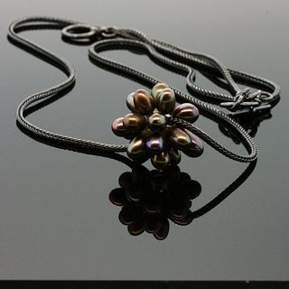 Irridesent Pearl Thistle Necklace