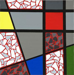 EDDIE BRUCKNER, Mosaic Color Grid - Naphthol Crimson on Black