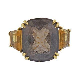 Seaman Schepps 18K Gold Smokey Topaz Citrine  Ring