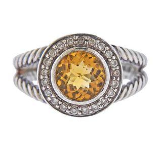 David Yurman Albion Silver Diamond Citrine Ring