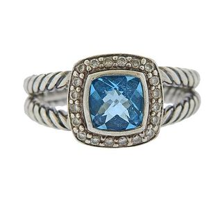 David Yurman Albion Silver Diamond Blue Topaz Ring