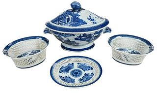 Four Canton Blue and White Porcelain Objects