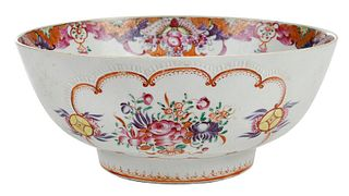Chinese Export Famille Rose Porcelain Punch Bowl