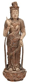 Carved Wooden Statue of a Standing Guanyin