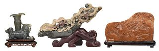 Three Chinese Carved Soapstone Sculptures