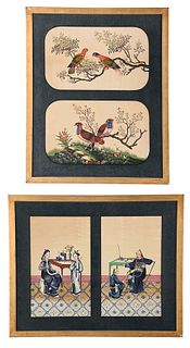 Four Framed Chinese Pith Paintings