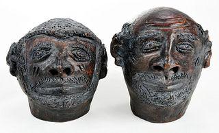 Two Folk Art Sewer Tile Figural Sculptures