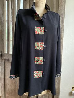 Black Rayon Swing Jacket with Red Berries Trim
