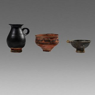 Lot of 3 Ancient South Italian Greek Pottery Vessels c.4th century BC.