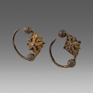 Ancient Byzantine Gold plated Earrings c.1250 AD.